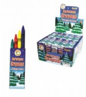 3 packs of 4 wax crayons, Christmas theme (Code 3117)